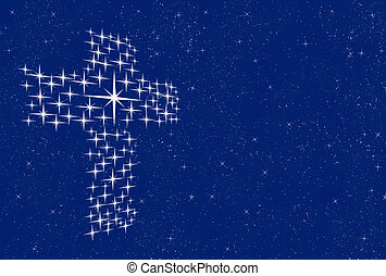 cross in stars - a large cross made up of stars in the night...