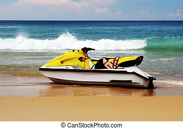 Jet ski. - Jet ski on the sand at the beach - summertime...
