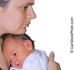 Mother\\\'s love - Mother with her newborn over white...