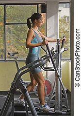 Woman at the gym - Woman on the stepper in the gymShot with...