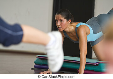 Aerobics detail - Close-up image of a woman doing aerobics...