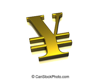 Yen Gold Currency - Currency in a gold metal style with...