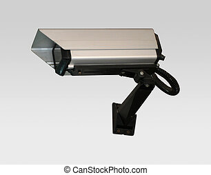 Security cam in silver on a wall