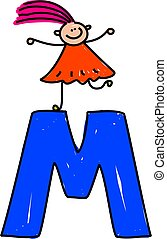 letter M girl - happy little girl standing on a giant letter...