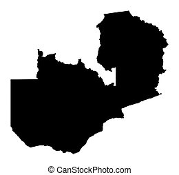 map of Zambia - Detailed isolated map of Zambia, black and...