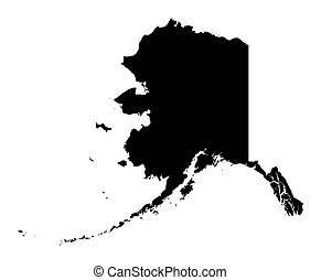 map of Alaska - Detailed isolated b/w map of Alaska, USA....