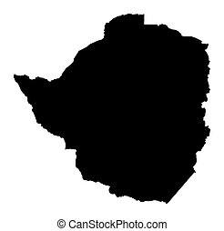 map of Zimbabwe - Detailed isolated map of Zimbabwe, black...
