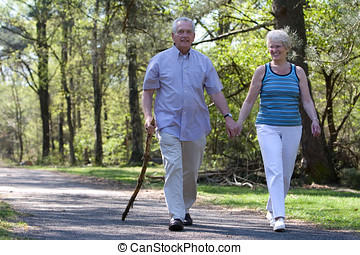 Out for a walk - Happy senior couple enjoying a walk in the...
