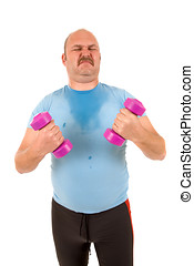 Trying so hard - Sweating overweight man trying to work with...