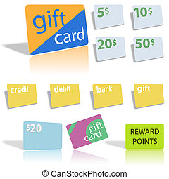 Gift Credit Debit Bank Cards - Set of assorted financial...