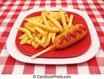 Corn Dog and French - A corn dog with ketchup and mustard...