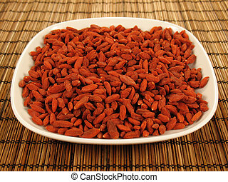 Goji Berries Plate - Goji berries (also called wolfberries)...