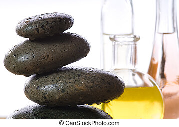 hot Stones - spa products with stones massage flasks and oil