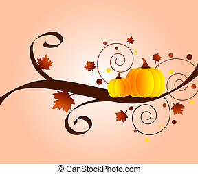 Autumn design with leaves and pumpkins
