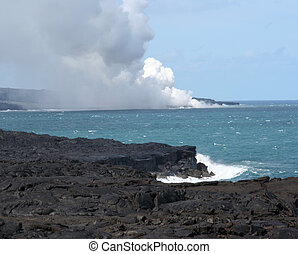 Ocean Volcano Eruption - Steaming Hawaian Volcano erupts