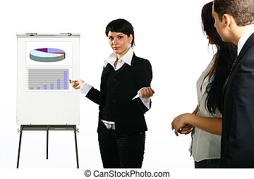 Presentation - The business girl shows something on a board...