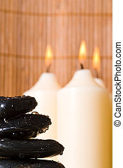massage stones - stack of hot stones for lastone massage
