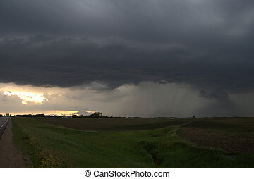 Prarie Storm - Shelf Cloud with rainshaft on Prairie in...