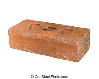 Isolated Red Brick - Red clay brick with three holes...