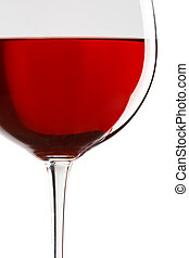 glass of red wine, close-up - glass of red wine over white...