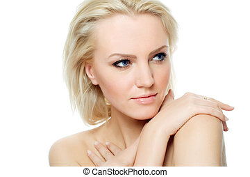 serene beauty - portrait of beautiful blonde model over...