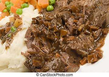 yankee pot roast with gravy mashed potatoes and vegetables