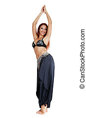 Smiling belly-dancer - Belly-dancer with long red hair...