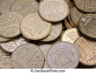 Ukrainian coins - Close-up photo of Ukrainian money coins...