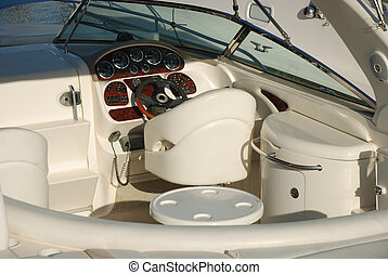 Cockpit of a luxury yacht