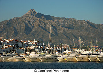 Luxury yachts in the harbor of Marbella, Spain