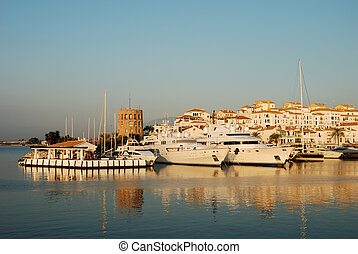 Yachts in the harbor - Luxury yacht in the harbor of...