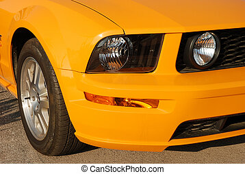 sports car lights - close up of a sports car lights and...