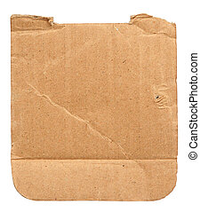 torn out piece of cardboard isolated on white, edges at the...
