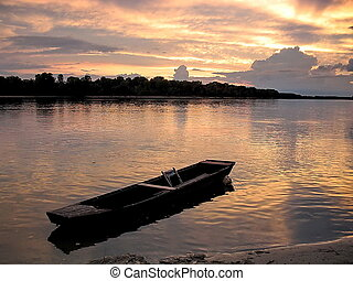 Lonely Wooden Boat - Sunset on the Danube River