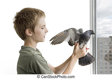boy with the pigeon on the balcony