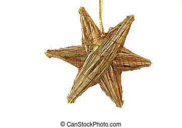Christmas decoration - star made of straw; close-up, object;...