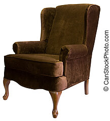 Queen Anne Chair - Queen Anne Style Wing Chair with Cherry...