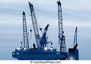 Industry - Part of the skyline from the harbor in Hamburg,...