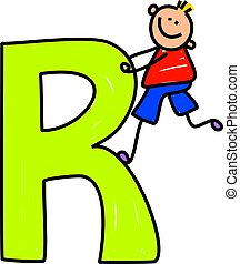 letter R boy - happy little boy climbing over a giant letter...