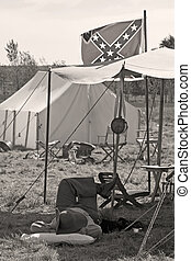 Napping Soldier - Civil War soldier napping in tent under...