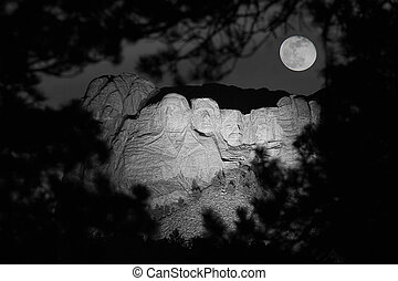 Mt. Rushmore at Night - Mt. Rushmore at night from an...