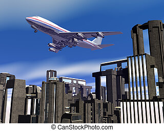 Airplane over city blocks - Background, 3D illustration of...