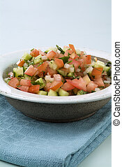 Israeli salad - Israeli arabic salad made of tomatoes,...