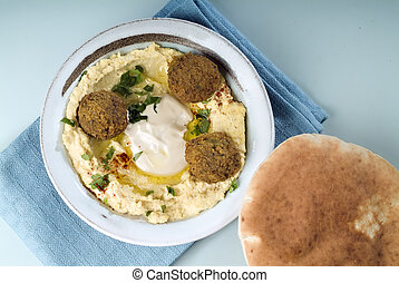 Hummus and Falafel - Falafel balls with hummus, pita and a...