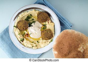 Hummus and Falafel - Falafel balls with hummus, pita and a...