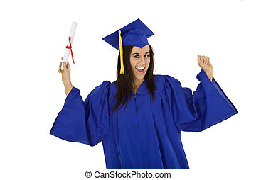 Garduation - A female caucasian in blue graduation gown and...