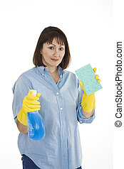 Cleaning Woman - Caucasian woman in early 40s with cleaning...
