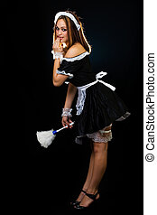 French Maid - Full body of a beautiful woman with brown hair...