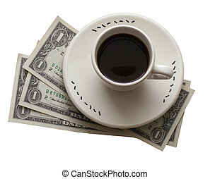 Cup of coffe and money - Cup of black coffe and three one...