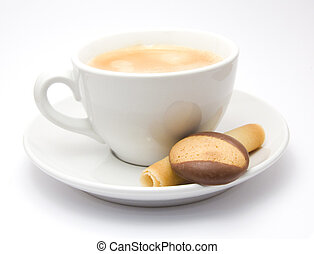 Cup of Coffee - Cup of cofee on a saucer with some cookies